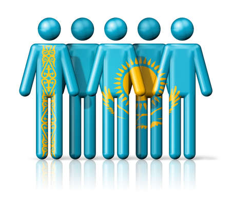 citizenship: Flag of Kazakhstan on stick figure - national and social community symbol 3D icon