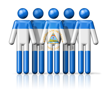 Flag of Nicaragua on stick figure - national and social community symbol 3D icon photo