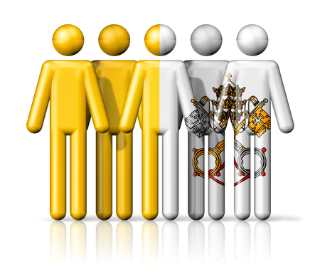 vatican city: Flag of Vatican City on stick figure - national and social community symbol 3D icon Stock Photo