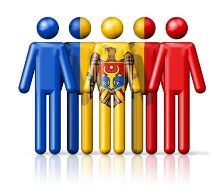 moldovan: Flag of Moldova on stick figure - national and social community symbol 3D icon Stock Photo