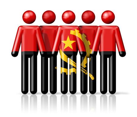 angola: Flag of Angola on stick figure - national and social community symbol 3D icon