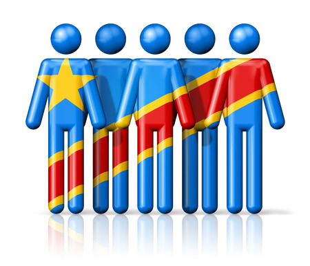zaire: Flag of Democratic Republic of the Congo on stick figure - national and social community symbol 3D icon