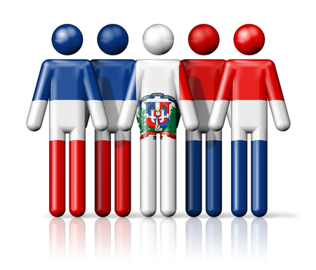 patriotism: Flag of Dominican Republic on stick figure - national and social community symbol 3D icon