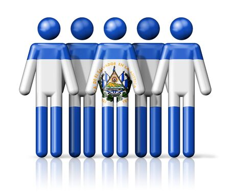 el salvador: Flag of El Salvador on stick figure - national and social community symbol 3D icon Stock Photo