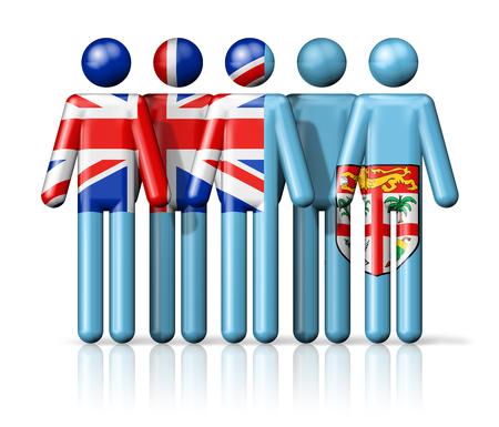 fiji: Flag of Fiji on stick figure - national and social community symbol 3D icon