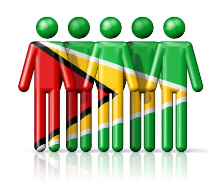 guyanese: Flag of Guyana on stick figure - national and social community symbol 3D icon Stock Photo