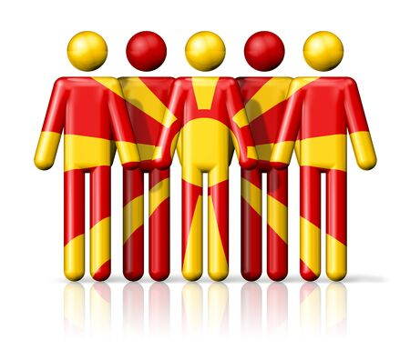 macedonia: Flag of Macedonia on stick figure - national and social community symbol 3D icon