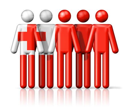 tonga: Flag of Tonga on stick figure - national and social community symbol 3D icon Stock Photo