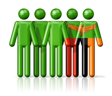 zambian: Flag of Zambia on stick figure - national and social community symbol 3D icon