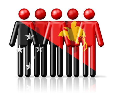Nuova Guinea: Bandiera della Papua Nuova Guinea sulla figura stilizzata - simbolo nazionale e sociale della comunit� 3D icona Archivio Fotografico