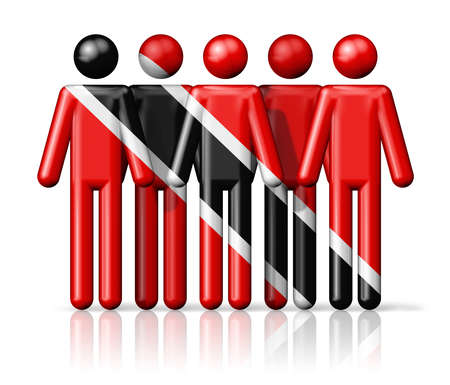 trinidadian: Flag of Trinidad And Tobago on stick figure - national and social community symbol 3D icon Stock Photo