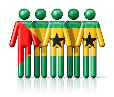 principe: Bandera de Santo Tomé y Príncipe en la figura de palo - símbolo nacional y social de la comunidad icono 3D