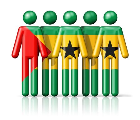 tome: Flag of Sao Tome and Principe on stick figure - national and social community symbol 3D icon