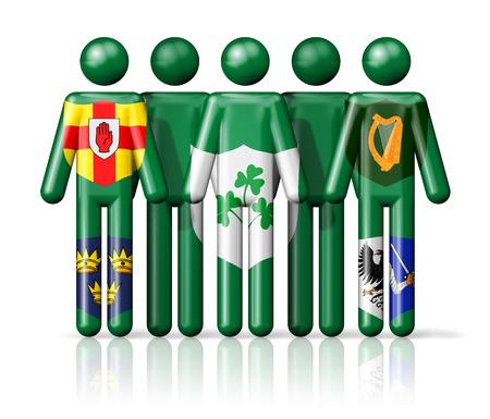 irish ethnicity: Flag of Ireland - IRFU on stick figure - national and social community symbol 3D icon