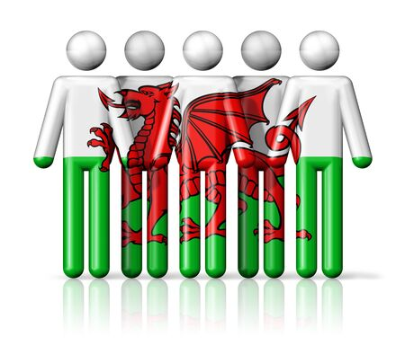 wales: Flag of Wales on stick figure - national and social community symbol 3D icon