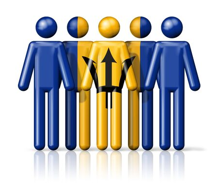 barbados: Flag of Barbados on stick figure - national and social community symbol 3D icon