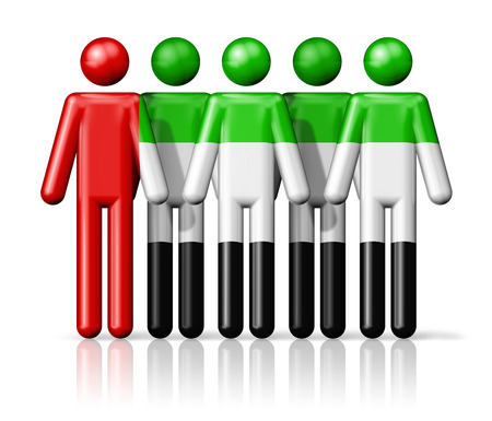 emirates: Flag of United Arab Emirates on stick figure - national and social community symbol 3D icon