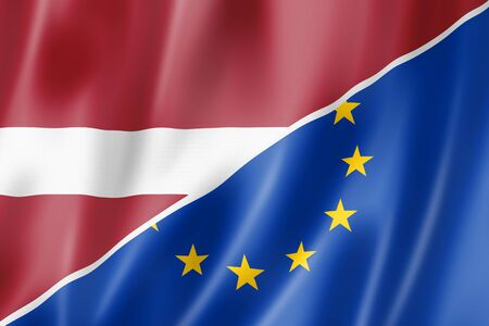 eec: Mixed Latvian and european Union flag, three dimensional render, illustration