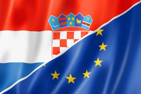 eec: Mixed Croatian and european Union flag, three dimensional render, illustration