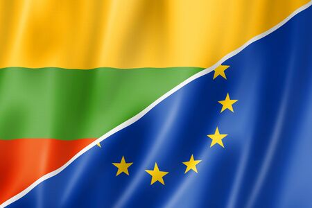 eec: Mixed Lithuanian and european Union flag, three dimensional render, illustration Stock Photo