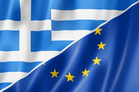 eec: Mixed Greek and european Union flag, three dimensional render, illustration
