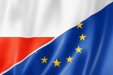 polish flag: Mixed Polish and european Union flag, three dimensional render, illustration