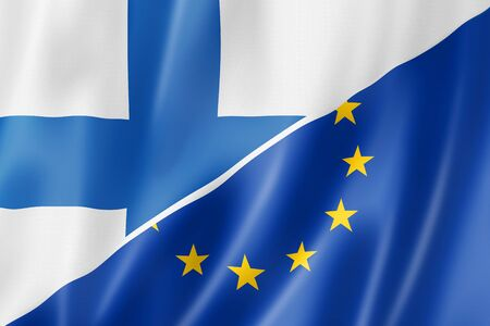 european economic community: Mixed Finnish and european Union flag, three dimensional render, illustration Stock Photo
