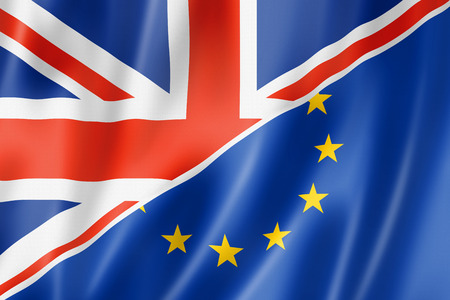 european economic community: Mixed British and european Union flag, three dimensional render, illustration Stock Photo