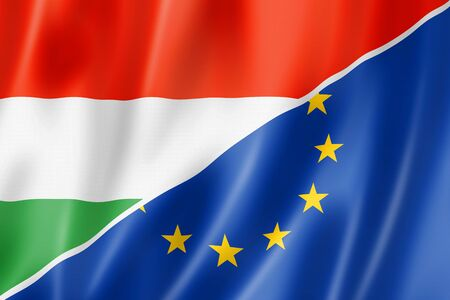 eec: Mixed Hungarian and european Union flag, three dimensional render, illustration