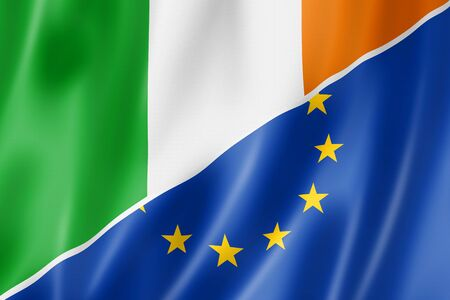 eec: Mixed Irish and european Union flag, three dimensional render, illustration