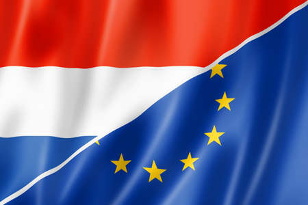 eec: Mixed Netherlands and european Union flag, three dimensional render, illustration