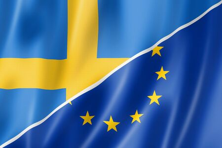 eec: Mixed Swedish and european Union flag, three dimensional render, illustration
