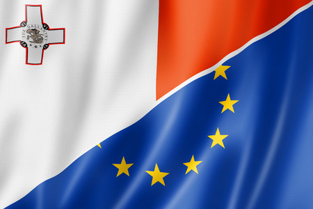 eec: Mixed Maltese and european Union flag, three dimensional render, illustration Stock Photo