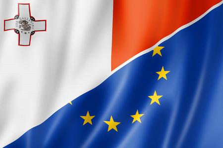 maltese: Mixed Maltese and european Union flag, three dimensional render, illustration Stock Photo