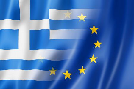 eec: Mixed Greek and european Union flag, 3D illustration Stock Photo