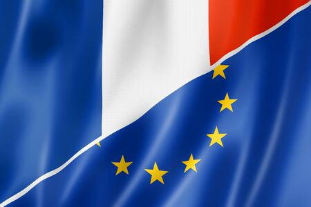 eec: Mixed French and european Union flag, three dimensional render, illustration