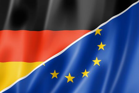 european economic community: Mixed German and european Union flag, three dimensional render, illustration Stock Photo