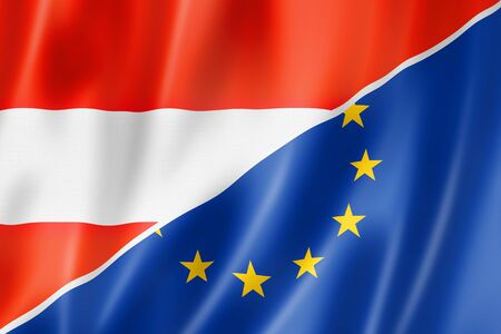 eec: Mixed Austrian and european Union flag, three dimensional render, illustration