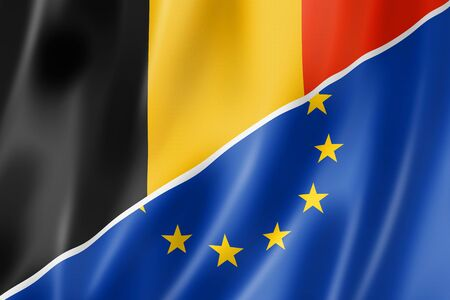 eec: Mixed Belgian and european Union flag, three dimensional render, illustration Stock Photo