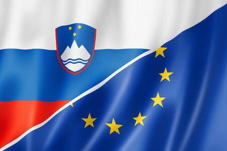 eec: Mixed Slovenian and european Union flag, three dimensional render, illustration
