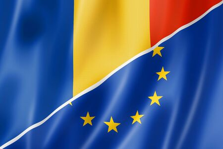 eec: Mixed Romanian and european Union flag, three dimensional render, illustration Stock Photo