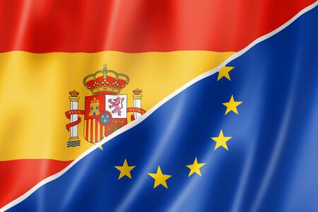 monetary: Mixed Spanish and european Union flag, three dimensional render, illustration Stock Photo