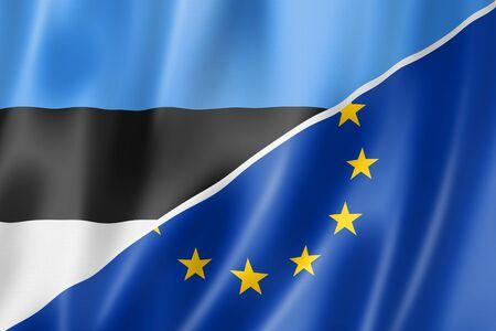 european economic community: Mixed Estonian and european Union flag, three dimensional render, illustration