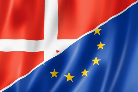 eec: Mixed Danish and european Union flag, three dimensional render, illustration Stock Photo
