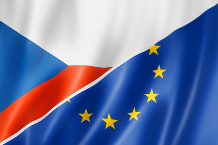 Mixed Czech Republic and european Union flag, three dimensional render, illustration