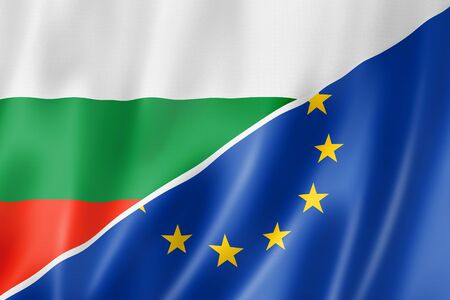 eec: Mixed Bulgarian and european Union flag, three dimensional render, illustration Stock Photo