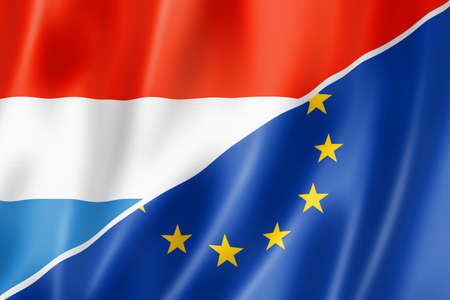 eec: Mixed Luxembourg and european Union flag, three dimensional render, illustration
