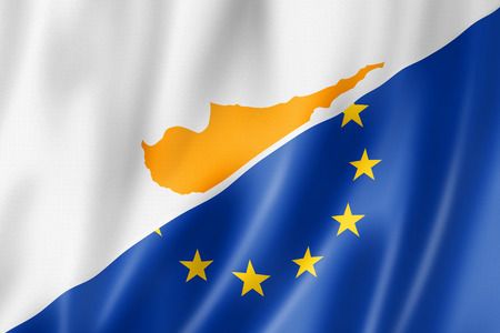 euro area: Mixed Cyprus and european Union flag, three dimensional render, illustration