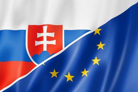 slovakia flag: Mixed Slovakian and european Union flag, three dimensional render, illustration