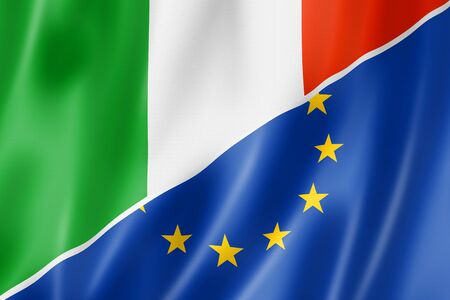 eec: Mixed Italian and european Union flag, three dimensional render, illustration